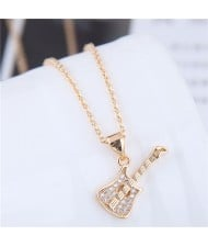 Cubic Zirconia Embellished Guitar Pendant High Fashion Copper Necklace