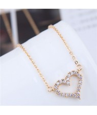 Cubic Zirconia Inlaid Graceful Heart Pendant Long Chain Fashion Statement Necklace