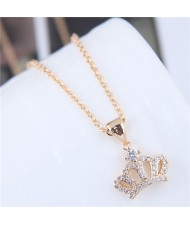 Shining Korean Fashion Crown Pendant Long Chain Fashion Statement Necklace