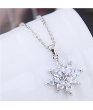 Glistening Cubic Zirconia Flower Pendant Long Chain Fashion Copper Necklace