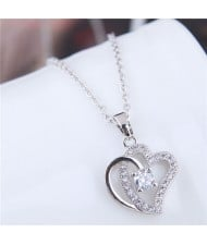 Cubic Zirconia Embellished Shining Dual Hearts Pendant Long Chain Fashion Necklace