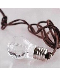 Bulb Shape Pendant Leather Rope Sweater Chain