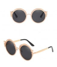 6 Colors Available Vintage Vine Decorated Round Frame Women High Fashion Sunglasses