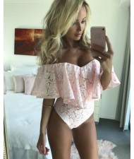 Off-the-shoulder Floral Lace One-piece Women Top - Pink