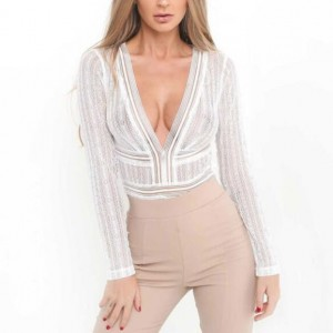 Deep V-neck Lace One-piece Women Top - White