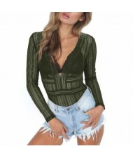 Deep V-neck Lace One-piece Women Top - Green