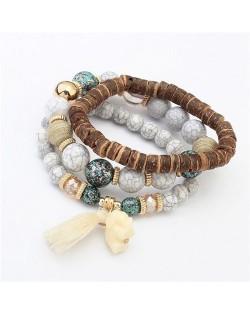 Elephant Pendant Artificial Turquoise Beads Three Layers Vintage Fashion Bracelet - Gray