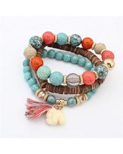 Elephant Pendant Artificial Turquoise Beads Three Layers Vintage Fashion Bracelet - Teal