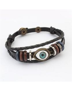 Eye Ball Decoration Vintage Design Leather Bracelet - Black