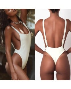 Solid White One-piece Fashion Attractive Women Swimwear