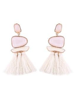 Irregular Resin Gems Inlaid Cotton Threads Tassel Fashion Earrings - White