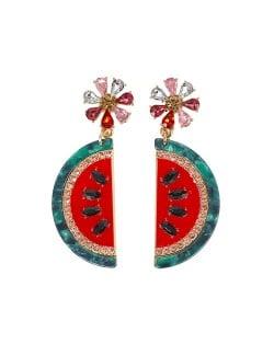 Oil-spot Glaze Flower and Tassel Beads Design Women Statement Earrings - Pink