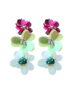 Multicolor Resin Flowers Cluster Design High Fashion Statement Earrings