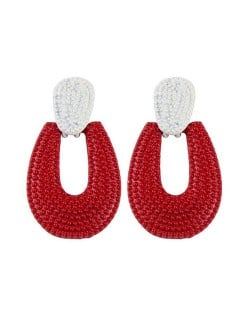 Studs Hoop High Fashion Chunky Style Women Statement Earrings - Red