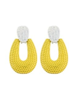 Studs Hoop High Fashion Chunky Style Women Statement Earrings - Yellow