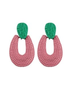 Studs Hoop High Fashion Chunky Style Women Statement Earrings - Pink