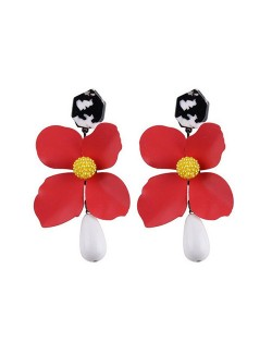 Vivid Chunky Flower Dangling Fashion Women Statement Earrings - Red