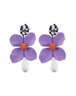 Vivid Chunky Flower Dangling Fashion Women Statement Earrings - Purple