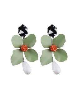 Vivid Chunky Flower Dangling Fashion Women Statement Earrings - Green