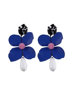 Vivid Chunky Flower Dangling Fashion Women Statement Earrings - Blue