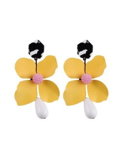 Vivid Chunky Flower Dangling Fashion Women Statement Earrings - Yellow