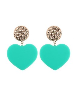 Dangling Heart Bold High Fashion Women Statement Earrings - Light Green