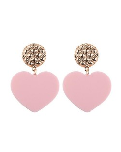 Dangling Heart Bold High Fashion Women Statement Earrings - Pink