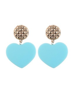 Dangling Heart Bold High Fashion Women Statement Earrings - Blue