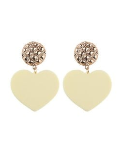 Dangling Heart Bold High Fashion Women Statement Earrings - White