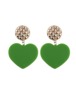 Dangling Heart Bold High Fashion Women Statement Earrings - Green