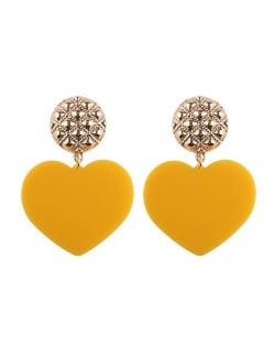 Dangling Heart Bold High Fashion Women Statement Earrings - Yellow
