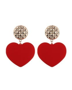 Dangling Heart Bold High Fashion Women Statement Earrings - Red