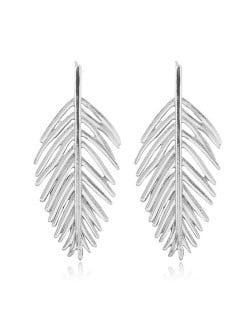 Hollow Leaf Bold Fashion Women Statement Alloy Earrings - Silver