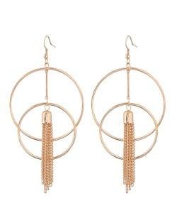 Linked Hoops with Alloy Tassel Design Golden Fashion Earrings