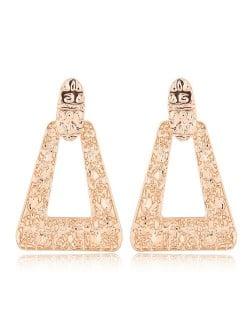 Coarse Surface Folk Fashion Bold Triangle Design Statement Earrings