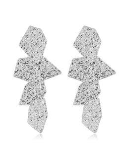 Coarse Surface Leaves Combo Bold Design Women Statement Earrings - Silver