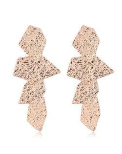 Coarse Surface Leaves Combo Bold Design Women Statement Earrings - Golden