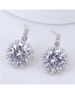 Shining Cubic Zirconia Inlaid High Fashion Women Statement Earrings - Silver