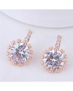 Shining Cubic Zirconia Inlaid High Fashion Women Statement Earrings - Golden