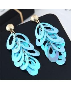 Resin Leaves Cluster Dangling Pendant Design High Fashion Costume Earrings - Blue