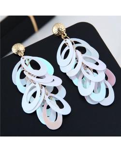 Resin Leaves Cluster Dangling Pendant Design High Fashion Costume Earrings - White