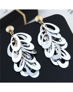 Resin Leaves Cluster Dangling Pendant Design High Fashion Costume Earrings - Gray