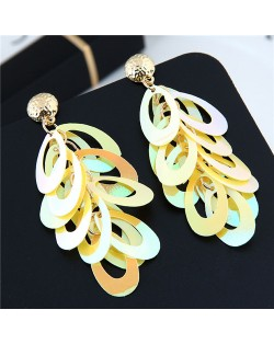 Resin Leaves Cluster Dangling Pendant Design High Fashion Costume Earrings - Yellow