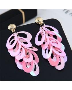 Resin Leaves Cluster Dangling Pendant Design High Fashion Costume Earrings - Pink