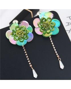 Glistening Flower with Bead Tassel Design Summer Fashion Costume Earrings - Green