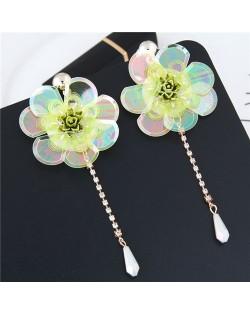 Glistening Flower with Bead Tassel Design Summer Fashion Costume Earrings - Yellow