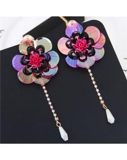 Glistening Flower with Bead Tassel Design Summer Fashion Costume Earrings - Red