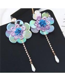 Glistening Flower with Bead Tassel Design Summer Fashion Costume Earrings - Blue