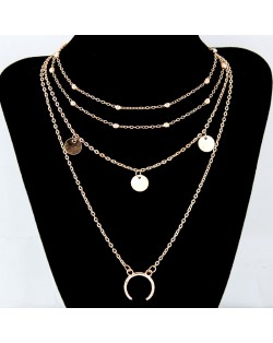 Paillette and Arch Pendant Multiple Layers Alloy Fashion Statement Necklace - Golden