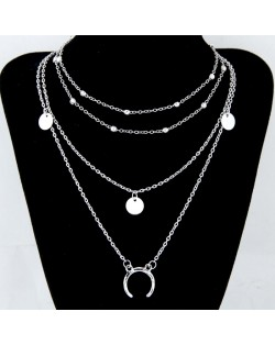 Paillette and Arch Pendant Multiple Layers Alloy Fashion Statement Necklace - Silver